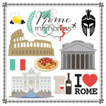 Scrapbook Customs - Travel Adventure Collection - 12 x 12 Paper - Rome Memories Cut Out