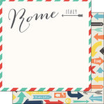 Scrapbook Customs - Travel Adventure Collection - 12 x 12 Double Sided Paper - Rome Memories Air Mail Arrows