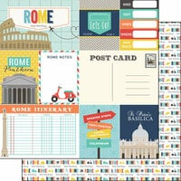 Scrapbook Customs - Travel Adventure Collection - 12 x 12 Double Sided Paper - Rome Memories Journal
