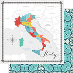 Scrapbook Customs - Travel Adventure Collection - 12 x 12 Double Sided Paper - Italy Memories Map