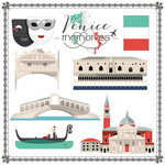 Scrapbook Customs - Travel Adventure Collection - 12 x 12 Paper - Venice Memories Cut Out