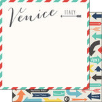 Scrapbook Customs - Travel Adventure Collection - 12 x 12 Double Sided Paper - Venice Memories Air Mail Arrows