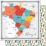 Scrapbook Customs - Travel Adventure Collection - 12 x 12 Double Sided Paper - Brazil Memories Map