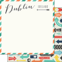 Scrapbook Customs - Travel Adventure Collection - 12 x 12 Double Sided Paper - Dublin Memories Air Mail Arrows
