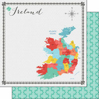 Scrapbook Customs - Travel Adventure Collection - 12 x 12 Double Sided Paper - Ireland Memories Map