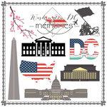 Scrapbook Customs - Travel Adventure Collection - 12 x 12 Paper - Washington D.C. Memories Cut Out