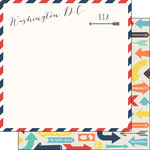 Scrapbook Customs - Travel Adventure Collection - 12 x 12 Double Sided Paper - Washington D.C. Memories Air Mail Arrows