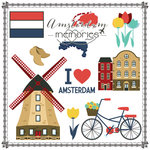 Scrapbook Customs - Travel Adventure Collection - 12 x 12 Paper - Amsterdam Memories Cut Out