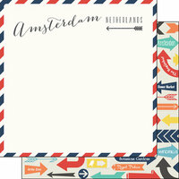 Scrapbook Customs - Travel Adventure Collection - 12 x 12 Double Sided Paper - Amsterdam Memories Air Mail Arrows
