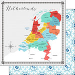 Scrapbook Customs - Travel Adventure Collection - 12 x 12 Double Sided Paper - Netherlands Memories Map