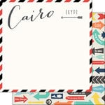 Scrapbook Customs - Travel Adventure Collection - 12 x 12 Double Sided Paper - Cairo Memories Air Mail Arrows