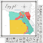 Scrapbook Customs - Travel Adventure Collection - 12 x 12 Double Sided Paper - Egypt Memories Map