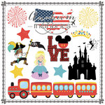 Scrapbook Customs - Travel Adventure Collection - 12 x 12 Paper - Anaheim Memories Cut Out