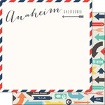Scrapbook Customs - Travel Adventure Collection - 12 x 12 Double Sided Paper - Anaheim Memories Air Mail Arrows
