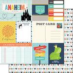 Scrapbook Customs - Travel Adventure Collection - 12 x 12 Double Sided Paper - Anaheim Memories Journal
