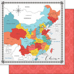 Scrapbook Customs - Travel Adventure Collection - 12 x 12 Double Sided Paper - China Memories Map