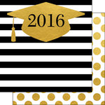 Scrapbook Customs - 12 x 12 Double Sided Paper - 2016 Grad Hat Faux Foil
