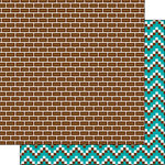 Scrapbook Customs - Inspired By Collection - 12 x 12 Double Sided Paper - Pixel Addict - Bricks