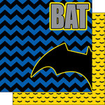 Scrapbook Customs - Inspired By Collection - 12 x 12 Double Sided Paper - Bat Superhero - Left