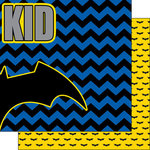 Scrapbook Customs - Inspired By Collection - 12 x 12 Double Sided Paper - Bat Superhero - Right