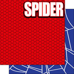 Scrapbook Customs - Inspired By Collection - 12 x 12 Double Sided Paper - Spider Superhero - Left