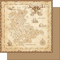 Scrapbook Customs - Inspired By Collection - 12 x 12 Double Sided Paper - Pirates - Treasure Map
