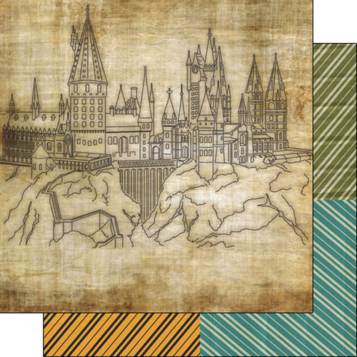 Scrapbook Customs - Wizarding World Collection - 12 x 12 Double Sided Paper - Castle