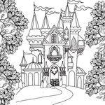 Scrapbook Customs - Adult Coloring Page - 12 x 12 Paper - Castle and Trees