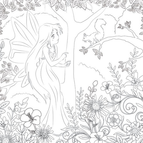 Scrapbook Customs - Adult Coloring Page - 12 x 12 Paper - Fairy Girl