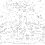 Scrapbook Customs - Adult Coloring Page - 12 x 12 Paper - Fairy Tree