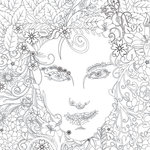 Scrapbook Customs - Adult Coloring Page - 12 x 12 Paper - Flower Face