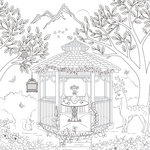 Scrapbook Customs - Adult Coloring Page - 12 x 12 Paper - Gazebo