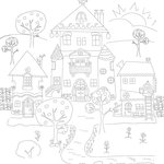 Scrapbook Customs - Adult Coloring Page - 12 x 12 Paper - Houses