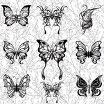 Scrapbook Customs - Adult Coloring Page - 12 x 12 Paper - Vines and Butterflies