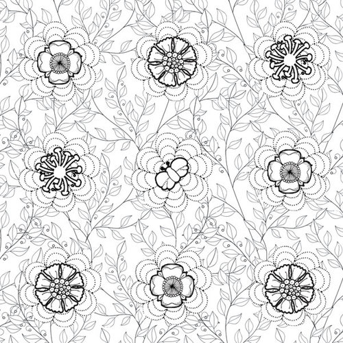 Scrapbook Customs - Adult Coloring Page - 12 x 12 Paper - Vines and Flowers