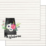 Scrapbook Customs - 12 x 12 Double Sided Paper - Alabama Watercolor