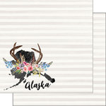 Scrapbook Customs - 12 x 12 Double Sided Paper - Alaska Watercolor