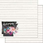 Scrapbook Customs - 12 x 12 Double Sided Paper - Arkansas Watercolor