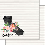 Scrapbook Customs - 12 x 12 Double Sided Paper - California Watercolor