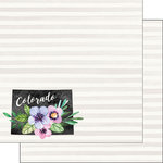 Scrapbook Customs - 12 x 12 Double Sided Paper - Colorado Watercolor