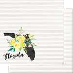 Scrapbook Customs - 12 x 12 Double Sided Paper - Florida Watercolor