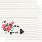 Scrapbook Customs - 12 x 12 Double Sided Paper - Hawaii Watercolor