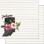 Scrapbook Customs - 12 x 12 Double Sided Paper - Indiana Watercolor