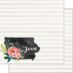 Scrapbook Customs - 12 x 12 Double Sided Paper - Iowa Watercolor