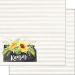 Scrapbook Customs - 12 x 12 Double Sided Paper - Kansas Watercolor