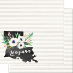 Scrapbook Customs - 12 x 12 Double Sided Paper - Louisiana Watercolor