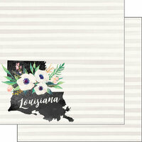 Scrapbook Customs - 12 x 12 Double Sided Paper - Louisiana Watercolor