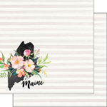 Scrapbook Customs - 12 x 12 Double Sided Paper - Maine Watercolor