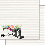 Scrapbook Customs - 12 x 12 Double Sided Paper - Maryland Watercolor
