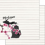Scrapbook Customs - 12 x 12 Double Sided Paper - Michigan Watercolor